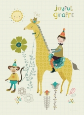 Bee Brown Joyful Giraffe juliste A3 UUTUUS