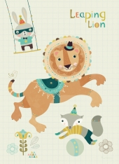 Bee Brown Leaping lion juliste A4 UUTUUS